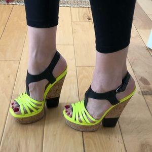 Cork & leather neon yellow & black heeled wedges
